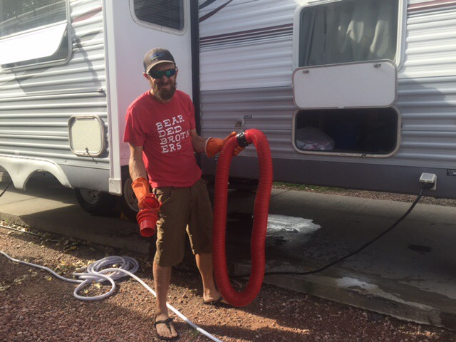 emptying the RV black tank