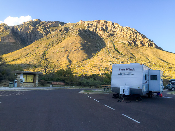 Our original travel trailer RV in the Guadalupe Mountains